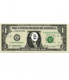 Fotomontagem original onde você pode colocar seu rosto na nota de um dólar
