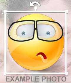 Etiqueta de um smiley com óculos para colocar em suas fotos