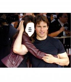 Fotomontagem para editar e colocar abraçando o ator Tom Cruise