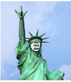 Fotomontagem em que você vai colocar seu rosto nesta Estátua peculiar da Liberdade