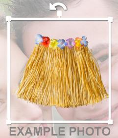 Etiqueta de uma saia havaiana para colocar em suas fotos