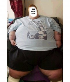 Montagem adicionar a foto de sua escolha em face deste homem gordo