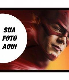 Fotomontagem com um dos super-heróis em Flash