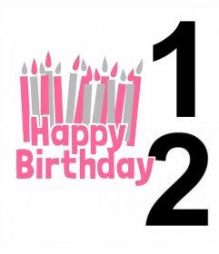 Cartão postal para editar com duas fotos e adicionar a frase feliz aniversario com muitas velas