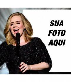 Efeito da foto editável com Adele cantando para fazer upload de sua foto