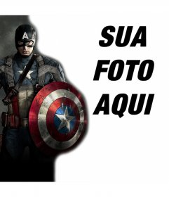 Enviar sua foto com o herói Capitão América e de forma gratuita