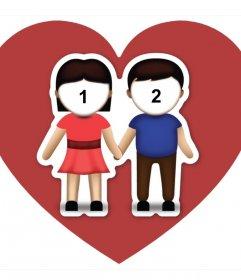 Efeito da foto do amor com o emoji do casal onde você pode carregar duas imagens