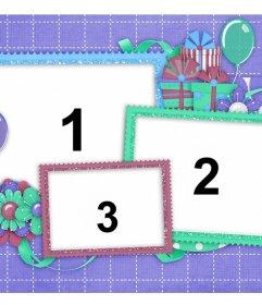 Cartão moderno para aniversários onde você pode adicionar três fotos