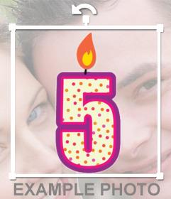 Etiqueta de uma vela com o número cinco para decorar suas fotos