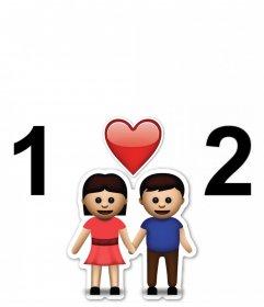 Quadro livre para duas fotos com emoji do casal e um coração