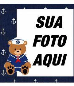 Quadro com um marinheiro urso de peluche para fazer upload de uma foto e decorá-lo