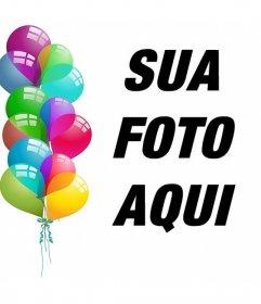 Cartão postal editável para comemorar com balões e enviar sua foto