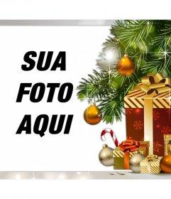 Foto efeito de presentes de Natal para o upload do seu foto