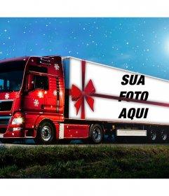 Efeito da foto de um caminhão de Natal para fazer upload de uma foto