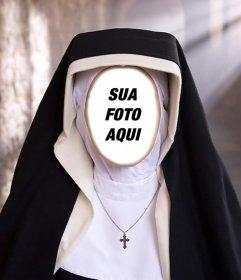 Fotomontagem de uma freira para colocar a foto do seu rosto