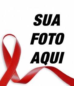 Fita vermelha contra a SIDA para colocar na sua foto online
