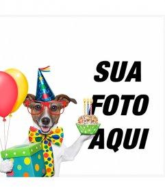Efeito da foto de um cão com bolo e balões de aniversário