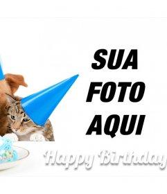 Cartão de aniversário doce com um cão e um gato para uma foto