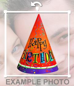 Chapéu colorido da festa de aniversário para decorar suas fotos