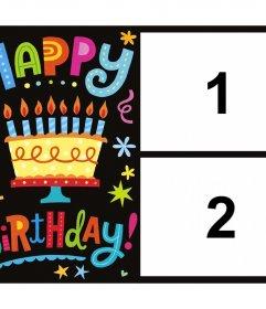 Muito colorido cartão de aniversário para editar com duas fotos para o efeito Photo