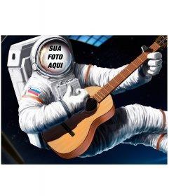 Fotomontagem para colocar seu rosto em um astronauta com uma guitarra