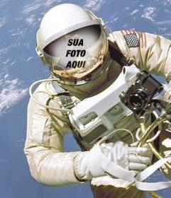 Criar uma fotomontagem de um astronauta e colocar seu rosto no Put capacete