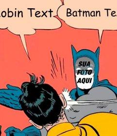 Fotomontagem editável do meme de Batman e Robin para sua foto e escrever Fotomontagem