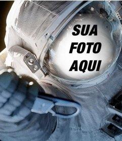 Ajustar o seu rosto em um traje de mergulho de um astronauta no espaço