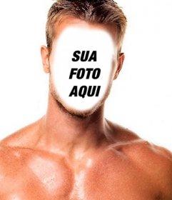 Fotomontagem de um homem musculoso com seu rosto