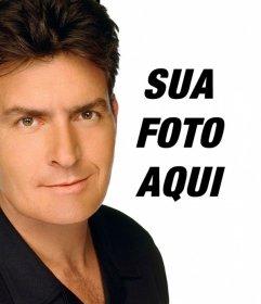 Criar uma montagem de Charlie Sheen para aparecer em uma foto com o ator sobre ele