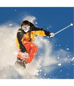 Fotomontagem com um esquiador profissional onde você pode colocar seu rosto