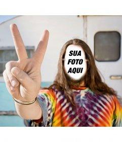 Fotomontagem para colocar seu rosto em um hippie com uma caravana