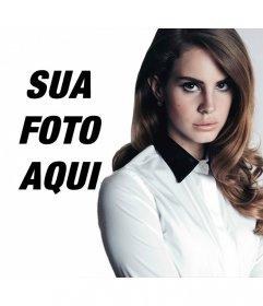 Fotomontagem com Lana Del Rey olha a câmera com elegância