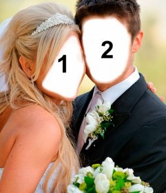 Fotomontagem de casamento para se tornar marido e mulher recém-casada