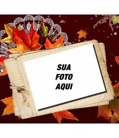 Cartão de outono Fotomontagem com um efeito polaroid