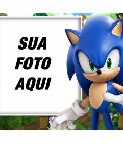 Efeito da foto com Sonic para personalizar com sua foto favorita