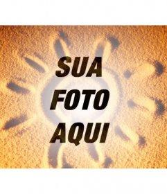 Fotomontagem para sobrepor uma foto de areia com um sol de verão na foto que deseja e adicionar algum texto