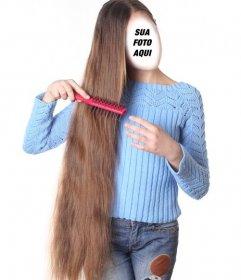 Fotomontagem de uma menina com cabelos extra longo para personalizar com seu