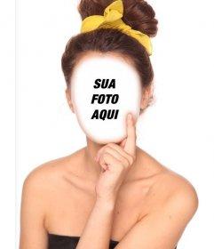 Ele pega o cabelo preto coletadas com fita amarela com essa montagem divertimento face on-line estilo Efeito