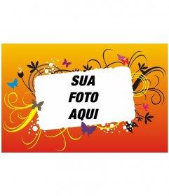 Cartão com fundo laranja e amarelo se degrada em imagens negativas de diferentes cores que representam borboletas, bolhas e ondulações que cercam sua imagem