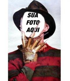 Fotomontagem de Freddy Krueger com suas garras no rosto