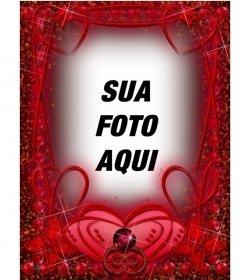 Moldura com corações e cursos vermelhos de rubi. quadro vermelho