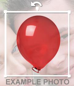Etiqueta de um balão vermelho brilhante