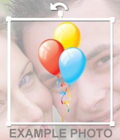 Etiqueta de balões coloridos para decorar fotos do aniversário
