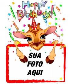 Cartão customizável com um aniversário girafa