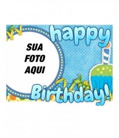 Cartão do feliz aniversario em um quadro redondo para sua foto