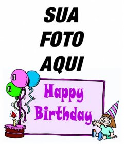 """Cartão do aniversário da menina com as palavras """"Feliz Aniversário"""" e um bolo com balões. Para fazer a sua foto"""