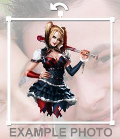 Etiqueta com um desenho de Harley Quinn