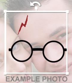 Etiqueta com os óculos de Harry Potter e cicatriz