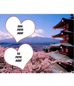 Cartão Postal Lago Ashi ver Fujiyama fotomontagem